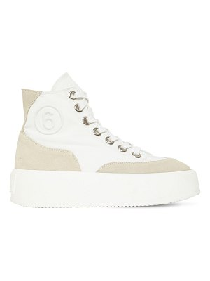 MM6 MAISON MARGIELA 30mm cotton & suede high top sneakers