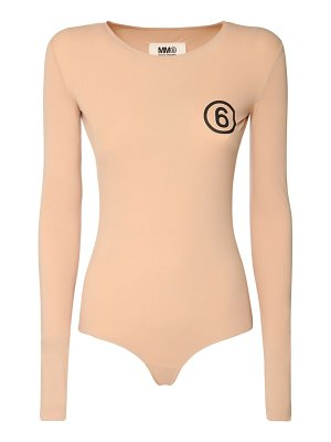 MM6 MAISON MARGIELA Logo stretch jersey bodysuit