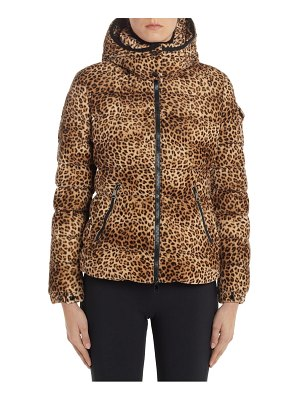 Moncler badyfur cheetah print hooded down coat