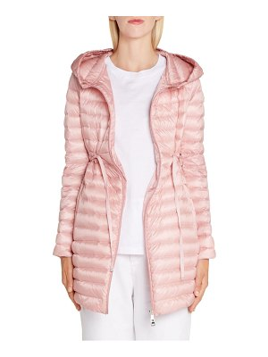 Moncler barbel tie waist hooded down coat