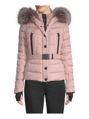 Moncler beverley fur trim hooded puffer jacket