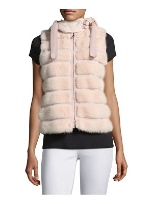 MONCLER Hooded Ametrine Fur & Wool Vest