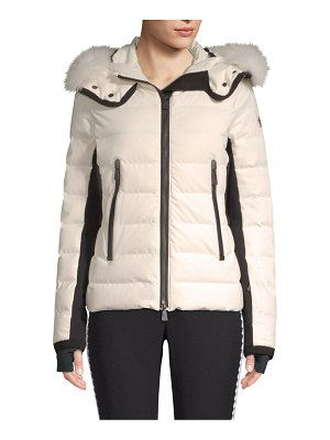 Moncler lamoura quilted fox fur hooded ski jacket