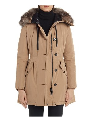 Moncler monticole hooded down parka with removable genuine fox fur trim