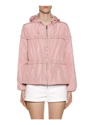 Moncler Prague Hooded Ruffle-Trim Jacket
