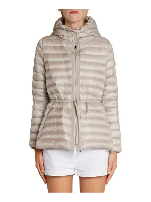 Moncler raie tie waist hooded down coat