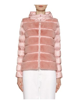 Moncler Riga Fur-Panel Puffer Jacket