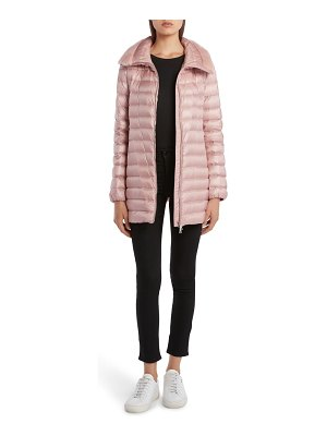 Moncler soufre lightweight down puffer coat with genuine mink fur trim