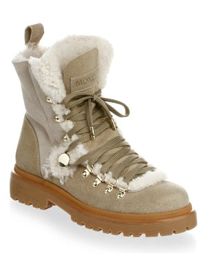Moncler sparkle suede & shearling winter boots
