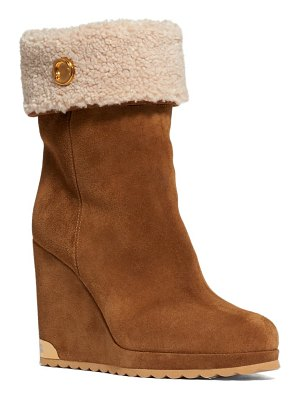 Moncler w short faux shearling lined wedge bootie