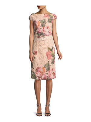 Monique Lhuillier Bridesmaids Cap-Sleeve Floral-Print Lace Cocktail Sheath Dress