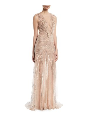 Monique Lhuillier Bridesmaids Deep-V Sleeveless Beaded-Striped Evening Gown w/ Ruffle Detail