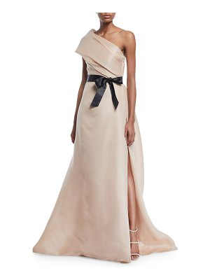 Monique Lhuillier Bridesmaids Draped One-Shoulder Gown with Thigh Slit