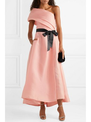 Monique Lhuillier Bridesmaids draped one-shoulder silk gown