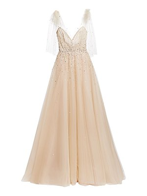 Monique Lhuillier Bridesmaids embellished a-line gown with bow detail