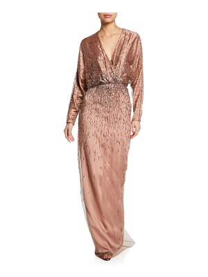 Monique Lhuillier Bridesmaids Embroidered Draped Dolman-Sleeve Gown