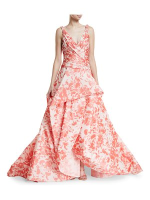 MONIQUE LHUILLIER BRIDESMAIDS Floral Ikat Taffeta Draped Bodice Evening Ball Gown