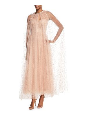 MONIQUE LHUILLIER BRIDESMAIDS Golden-Dot Tulle Floor-Length Cape