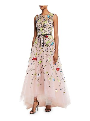 Monique Lhuillier Bridesmaids Jewel-Neck Sleeveless Floral-Embroidered Tulle A-Line Evening Gown