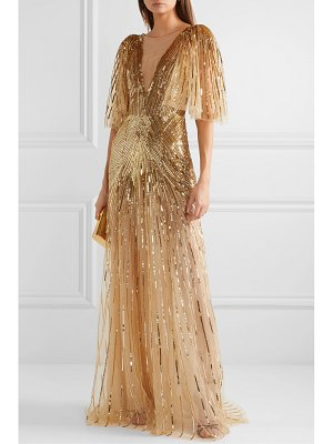 Monique Lhuillier Bridesmaids mesh-trimmed sequin-embellished tulle gown