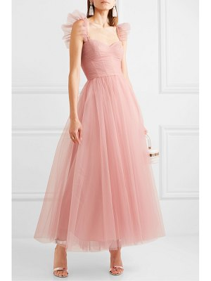 Monique Lhuillier Bridesmaids ruffled ruched tulle and silk crepe de chine gown