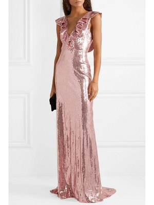 Monique Lhuillier Bridesmaids ruffled sequined crepe gown