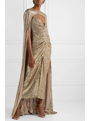 Monique Lhuillier Bridesmaids sequined silk-blend satin cape