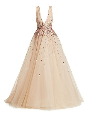 Monique Lhuillier Bridesmaids sleeveless embroidered tulle ball gown