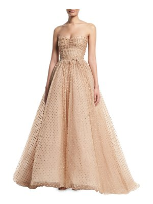 Monique Lhuillier Bridesmaids Strapless Glittered-Dot Ruched-Bodice Tulle Ball Gown