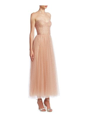 Monique Lhuillier Bridesmaids strapless polka-dot tea gown