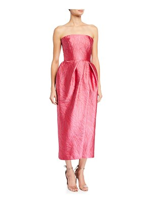 Monique Lhuillier Bridesmaids Strapless Slit Brocade Dress