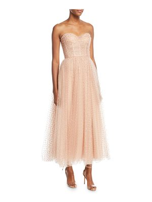 MONIQUE LHUILLIER BRIDESMAIDS Sweetheart-Neck Strapless Golden-Dot Tulle Cocktail Dress