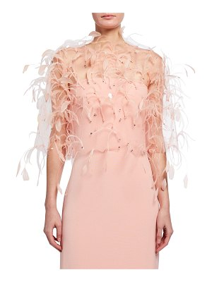 Monique Lhuillier Bridesmaids Tulle Open-Back Feathered Jacket
