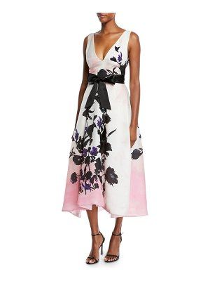 Monique Lhuillier Bridesmaids V-Neck Sleeveless Ribbon-Belt Floral-Print Daytime Dress