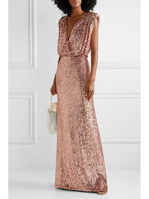 Monique Lhuillier Bridesmaids wrap-effect sequined stretch-tulle gown