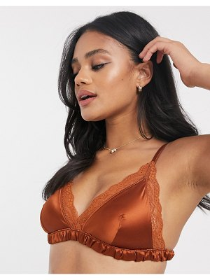 Monki agata recyled satin bralette with lace trim in rust-brown