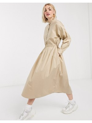 Monki balloon sleeve midi shirt dress in beige