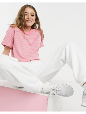 Monki barka organic cotton t-shirt in pink stripe