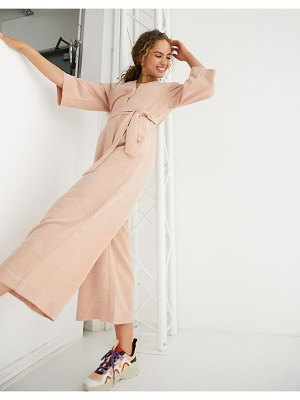 Monki belted jumpsuit-pink