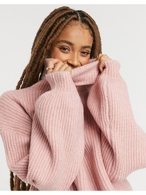 Monki bilba turtleneck cropped sweater in pink