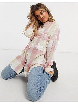 Monki carrie organic cotton check plaid shirt in pink