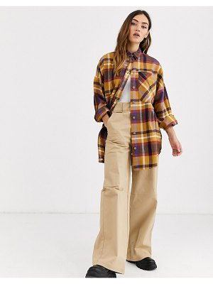 Monki check soft flannel oversized shirt in multi-beige