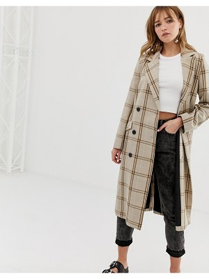 Monki check tailored lightweight coat in beige-brown