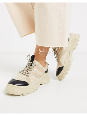 Monki chunky sole mesh sneakers in beige