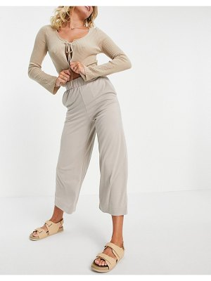 Monki cilla recycled set super soft pants in beige-neutral