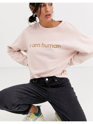 Monki classic round neck slogan sweatshirt in pink