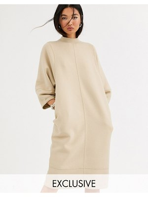 Monki cocoon shape midi t-shirt dress in beige