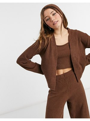 Monki cora fluffy knitted cardigan in brown 4 piece set