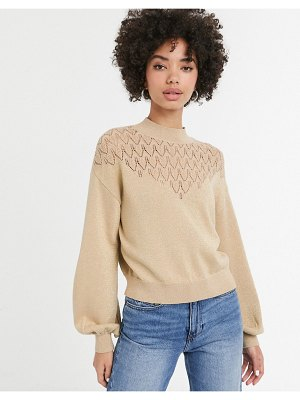 Monki cropped glitter lighweight sweater in gold