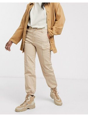 Monki cuffed cargo pants in beige